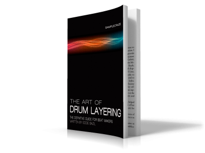 The Art of Drum Layering (second edition) screen shows a cover image for the drum layering ebook