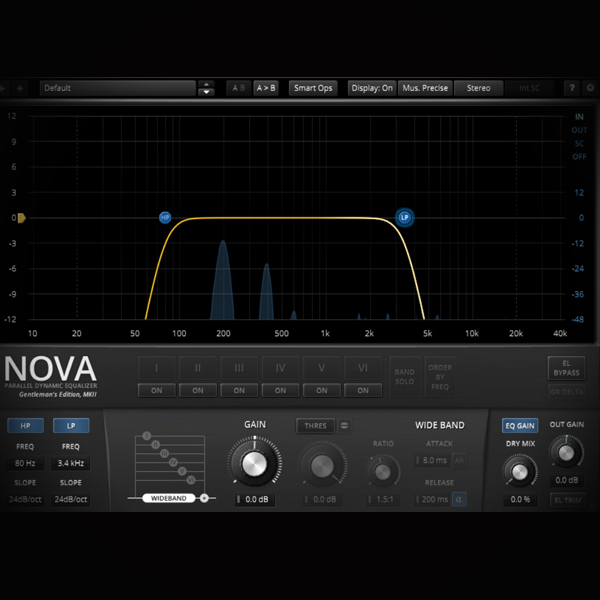 Band Pass Equalisation - cleaning audio channels screen shows the tdr nova ge equaliser plugin