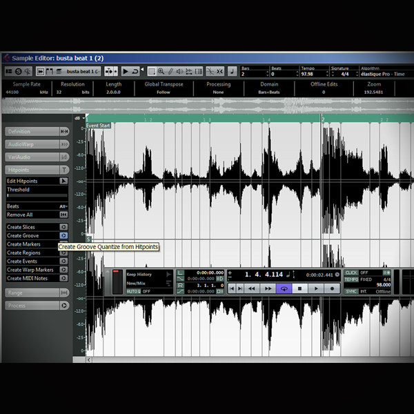 Combining Ripped Beats to create new Beats screen shows cubase's audio editor