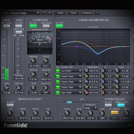 Compressing EDM Drum Beats screen shows the eventide ultrachannel plugin