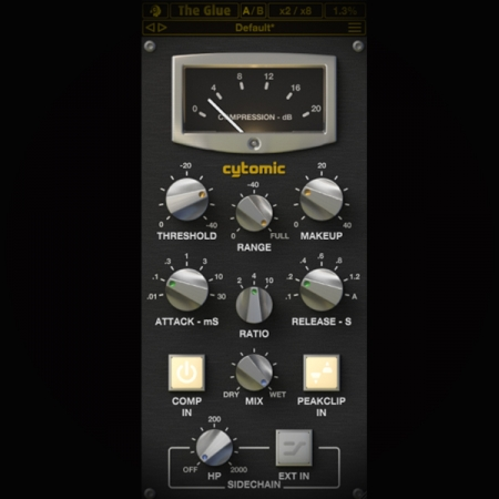Compressing Hip Hop Drum Beats screen shows the cytomic glue compressor plugin