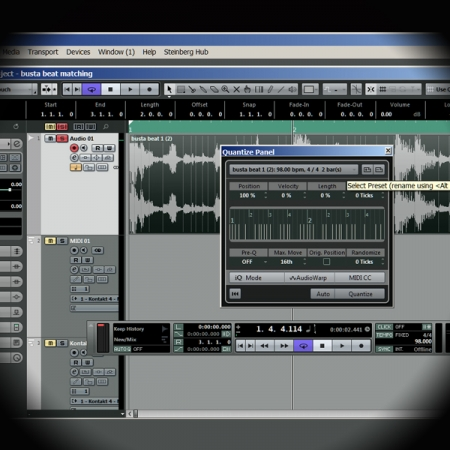 Ripping and using Timing Information from a Drum Beat screen shows cubase's quantise editor