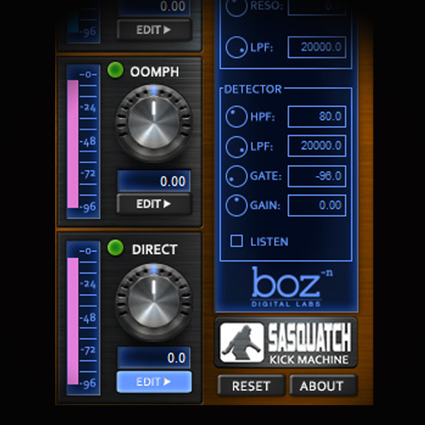 Creating a Huge Low End Kick screen shows boz digital's sasquatch kick machine vsti