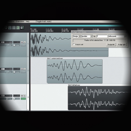 Create Epic Drums Sounds using the 'Flip and Nudge' Technique screen shows reaper's main arrange window