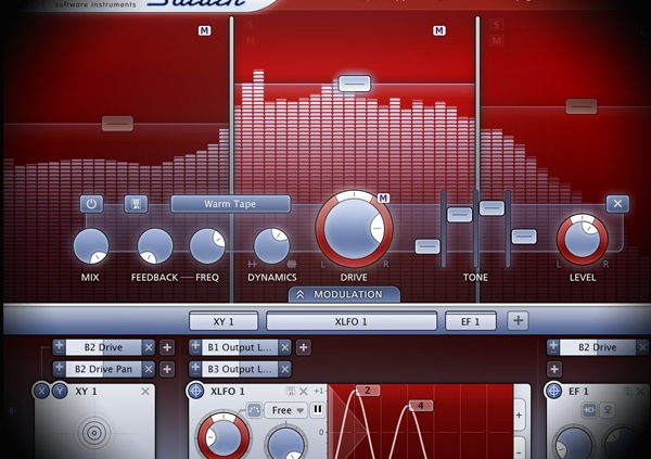 Layering Drum Sounds using Multiple Layers screen shows fabfilter's saturn distortion plugin