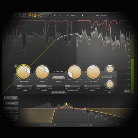 Using Ghost Triggers for side-chaining screen shows the fabfilter pro c2 compressor plugin