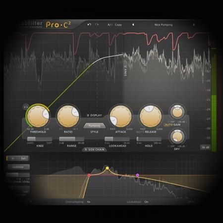 Compressing EDM Kick Drums screen shows the fabfilter pro c2 compressor plugin