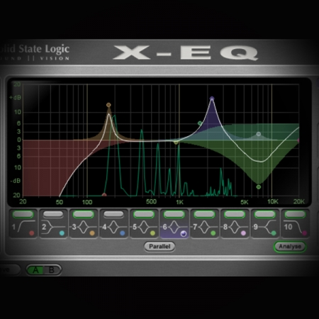 Active, Passive, Graphic, Parametric, Fixed and Peaking Eqs screen shows the ssl x eq plugin