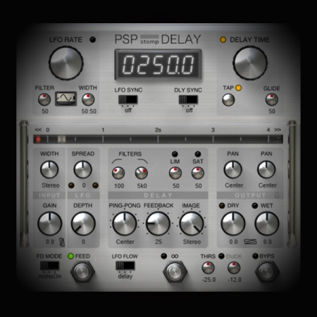 Using a Flanger to create Stereo Effects screen shows the psp delay plugin