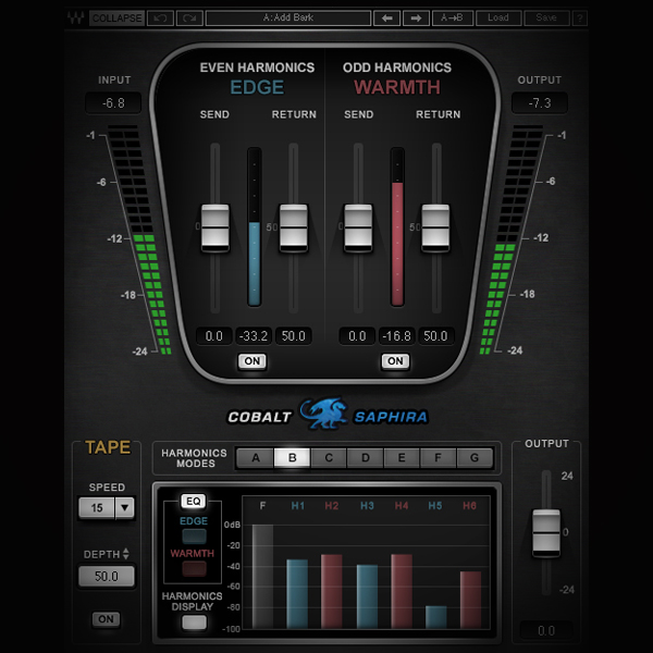 Harmonic Distortion - Odd and Even Harmonics screen shows the waves saphira harmonic generator plugin
