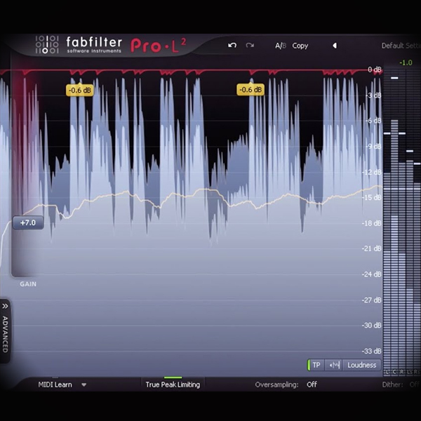 ISP - Intersample Peaks screen shows the fabfliter l2 limiter plugin