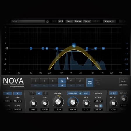 Mastering Demos with EQ screen shows the tdr nova ge dynamic eq plugin