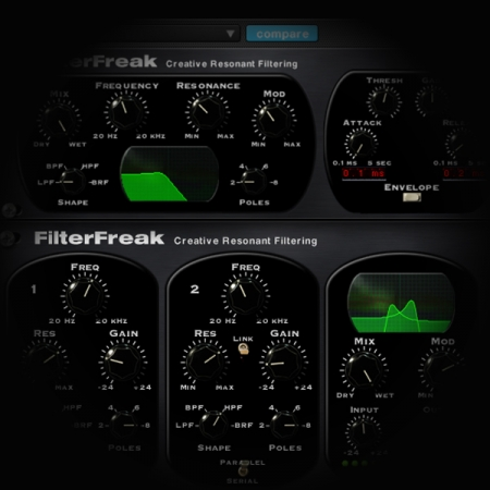 Using Modulation with a Single Band Filter - Soundtoys FilterFreak screen shows soundtoys filterfreak plugin