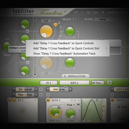 Using Modulation to shape a Delay Effect's Filters screen shows fabfilter's timeless delay plug