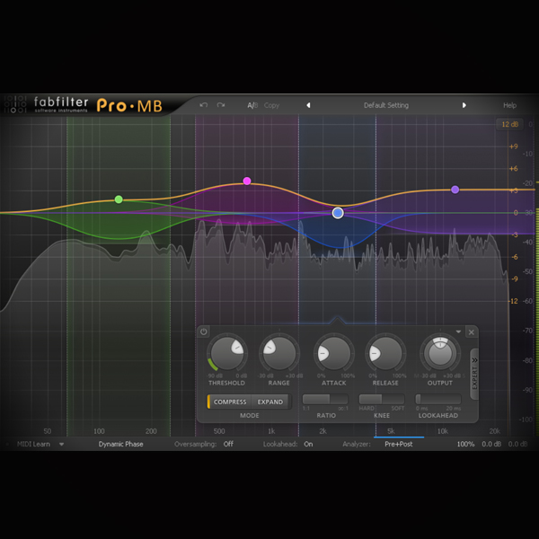 Multiband Compression - what is it and how do you use it screen shows the fabfilter pro mb multiband compressor plugin