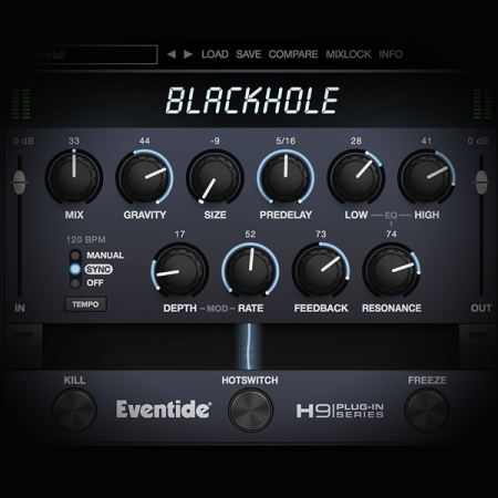 Layering drums using middle and side processing screen shows the eventide blackhole reverb plugin