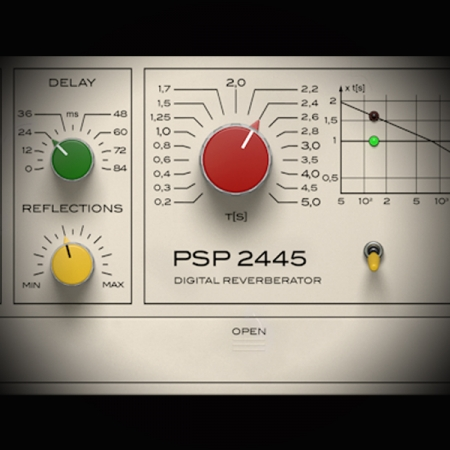 Processing Female Vocals using the Reverb 2445 screen shows psp 2445 reverb plugin