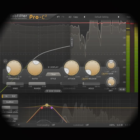 Side-chain Pumping Effect screen shows the sidechain of the fabfilter pro c2 compressor plugin