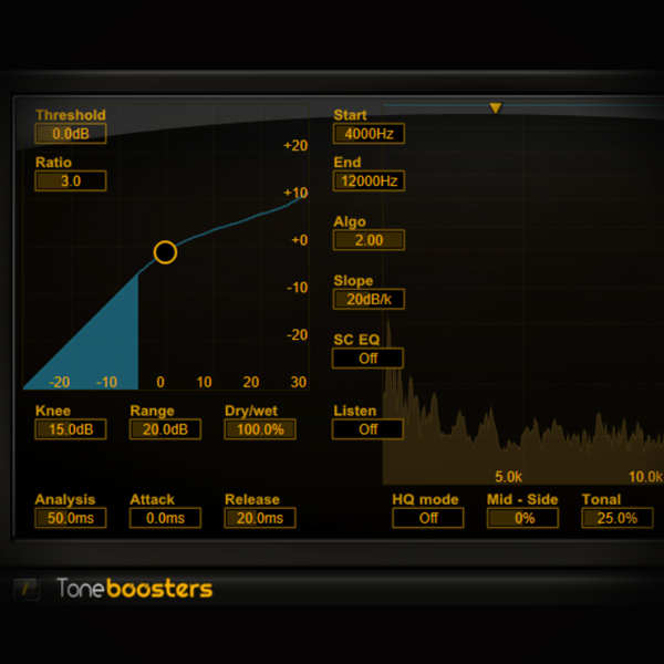 Controlling Vocal Sibilance screen shows the tonebooster sibilance plugin