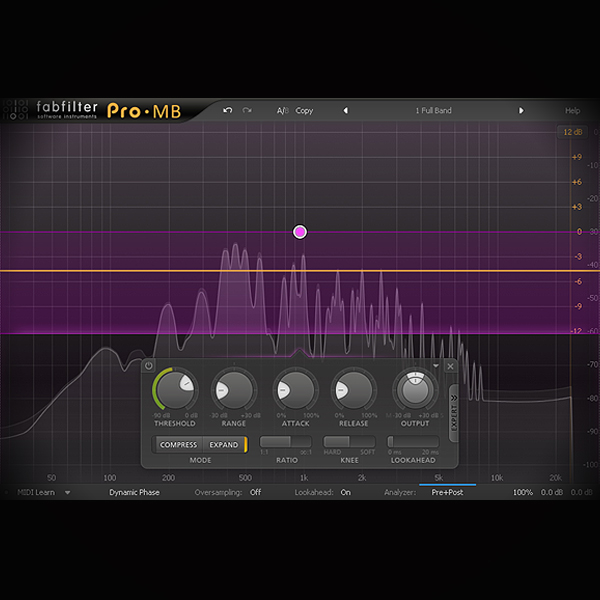 Side-chain Expansion - Bass and Kick processing screen shows the fabfilter pro mb multiband compressor plugin