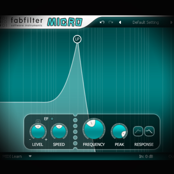 Using a Step Sequencer to control Filter Cut-Off and Resonance screen shows the fabfilter micro filter plugin