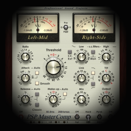 MixBus-Transparent Pre Mastering screen shows the psp master buss compressor plugin
