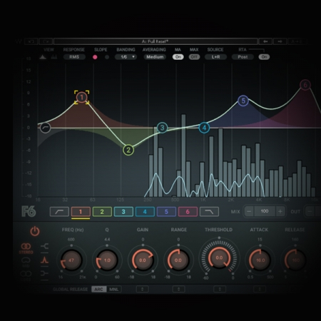 Side-chaining vocals against the mix screen shows the waves f6 dynamic eq
