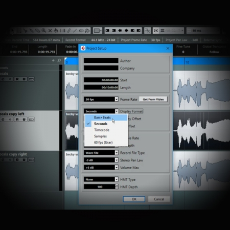 Creating Vocal Harmonies using Cubase screen showing cubase's project settings page