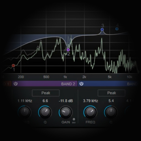 The 4 stages of Vocal Eq processing screen shows cubase's eq plugin