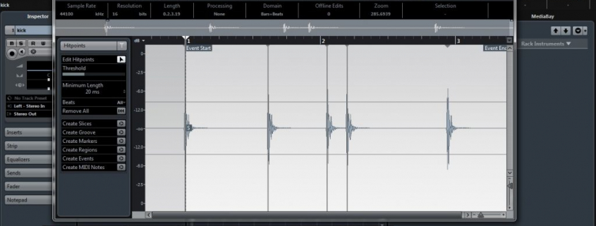 screen showing the quantise editor in cubase