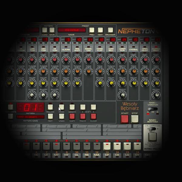 Roland TR 808 Kick Drum Bounce Processing screen shows d16's nepheton plugin