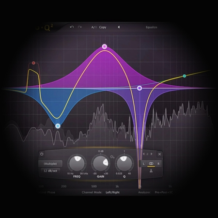 Using EQ to add presence and dynamics to a Guitar Line screen shows fabfilter's pro q3 equaliser plugin