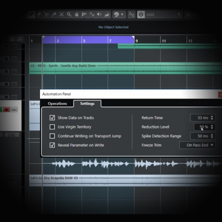 Using Bump Automation to Process Vocal's Volume screen shows cubase's automation lane and tools