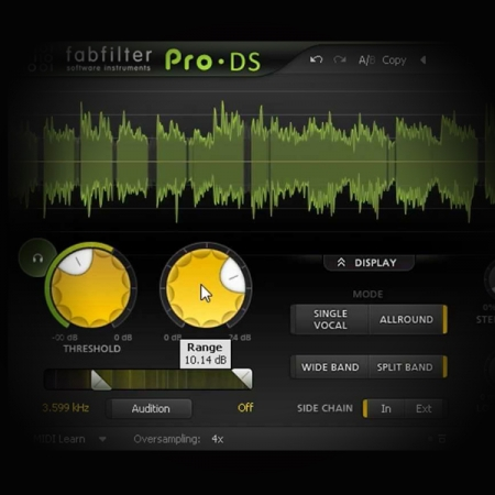 De essing EDM female lead vocals screen displays the fabfilter DS de esser plugin