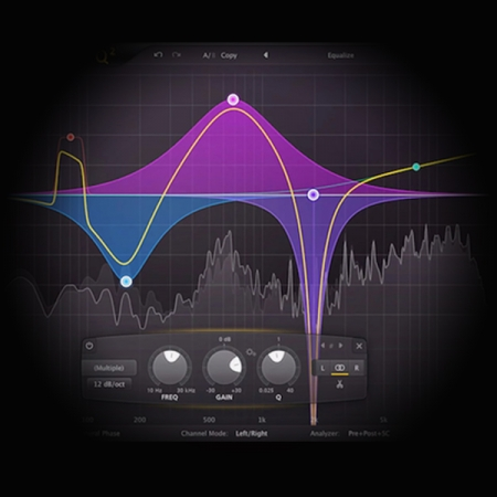 Band-pass Equalisation - Slopes and Gradients screen shows the fabfilter pro q3 equaliser