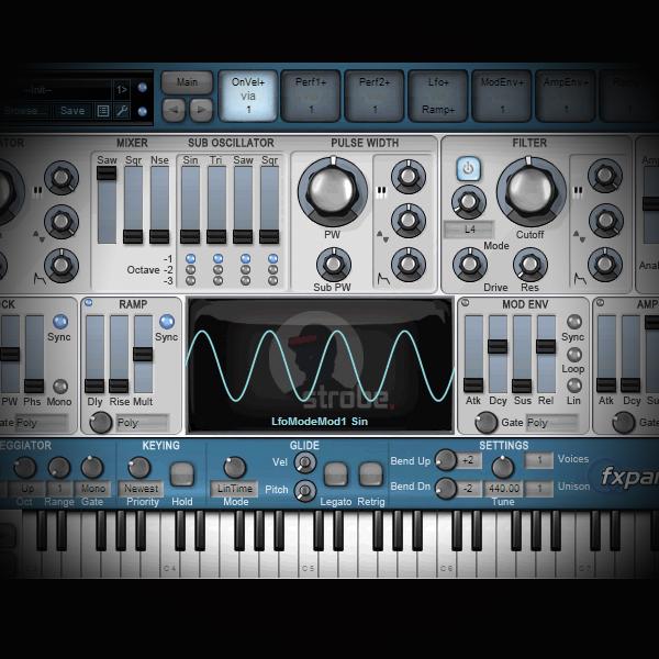 Processing a Kick Drum in Parallel screen shows strobe tone module vsti