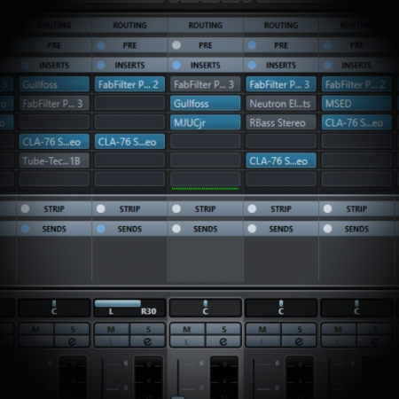 Converting Dual Mono Tracks into Stereo in Cubase screen shows the mixer page in cubase